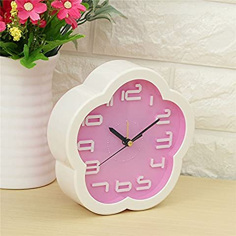 EsportsMJJ Creative Small Frisch Flower Clock Lazy Bed Small Zimmer Schreibtisch Wecker Simple Digital Electronic Clock-Pink