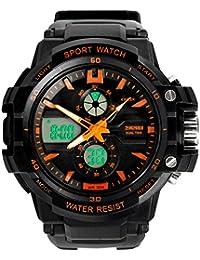 Reloj doble / deportes al aire libre de los hombres / reloj electrónico impermeable de la montaña / reloj multi-función del salto , large orange
