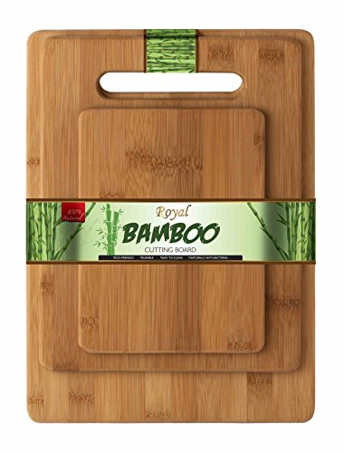 ROYAL BAMBOO Bambus Große Schneidbrett 3 Stück / XL Set Schneidebrett Hackblöcke (Bambus Schneidebrett-set)