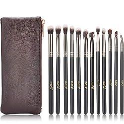 MSQ Lidschatten Pinsel 12pcs Rose Gold Pro Eye Make Up Pinsel Set mit Tasche (PU Ledertasche) Weiche Haare für Lidschatten, Augenbraue, Eyeliner, Blending - Rose Gold