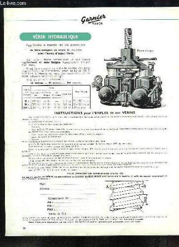1 brochure d'instructions pour l'emploi du Vérin Hydraulique