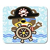 HOTNING Tappetini per Il Mouse, Gaming Mouse Pad Bear The Little Pirate Kids T-Shirt Design Wallpaper Vector Carton 11.8'x 9.8' Decor Office Nonslip Rubber Backing Mousepad Mouse Mat