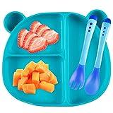 Piatto Scodella Silicone con Ventosa per Bambini Piastra per Alimenti Stoviglie Silicone + Forchetta + Cucchiaio Sensibile alla Temperatura (Verde)