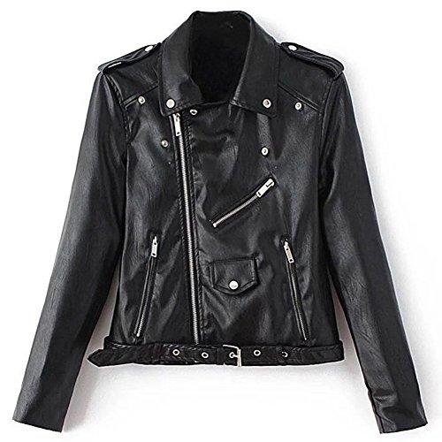 Blivener Women's Biker Style Zipper Leather Hooded Jackets Short Fitted Outwear Coat
