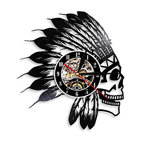 llsmting Wanduhren Native American Fighter Schädel Und Federn Stirnband Indian Warrior Apache Schädel Vintage Vinyl Record Decor Stille Übung Wohnzimmer Schlafzimmer Büro Hotel Bar Dekoration (Stirnbänder übung)