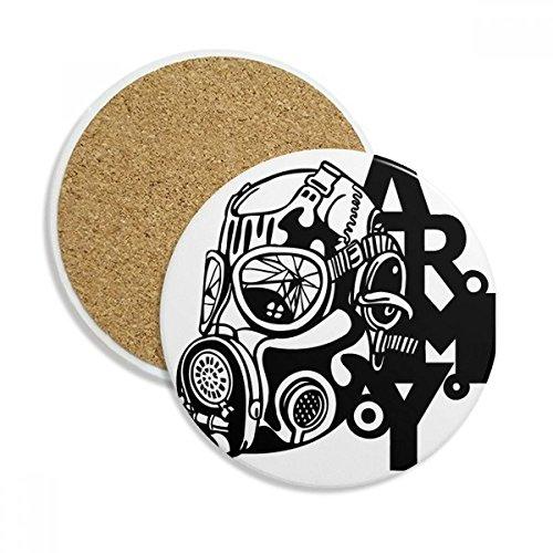 Luftverschmutzung Gas Maske Armee Silhouette Stein Drink Keramik Untersetzer für Tasse Geschenk 2 (Arm-silhouette)