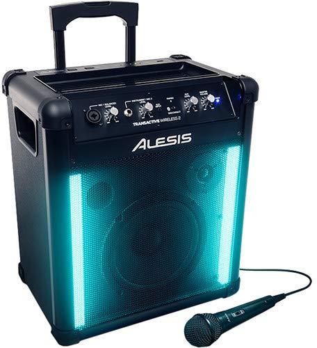 Alesis Transactive Wireless II - Tragbares Bluetooth Lautsprecher system mit eingebauter Lichtshow, 50W, Integrierter Akku und USB Schnell-Ladeanschluss