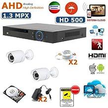 KIT VIDEOSORVEGLIANZA AHD DVR 4 CANALI 2 TELECAMERE AHD 2000 TVL 1.3 MPX INFRAROSSI 36 LED DVR 4 CANALI AHD - 2 ALIMENTATORI - 2 PROLUNGHE - HARD DISK 500 GB