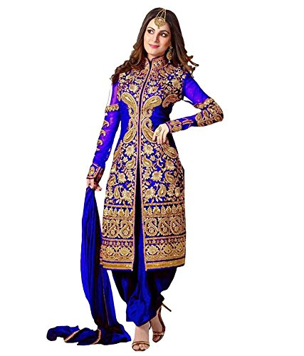 RTHub Women\'s Georgette Embroidred Semi Stithced Salwar Suits(Free-Size_Shervani-Blue)