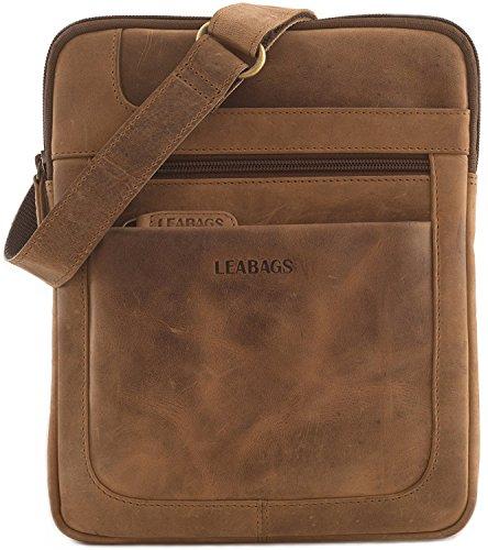 LEABAGS Detroit Umhängetasche aus echtem Büffel-Leder im Vintage Look - Braun