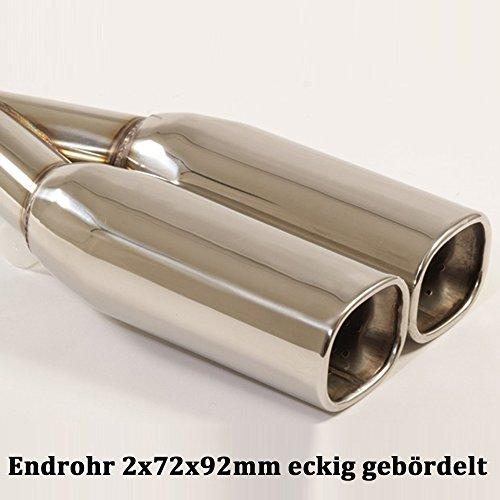 Friedrich Motorsport Auspuff Sportauspuff Endschalldämpfer Sportendschalldämpfer ESD mit Endrohr 2x72x92mm eckig gebördelt 971121-7