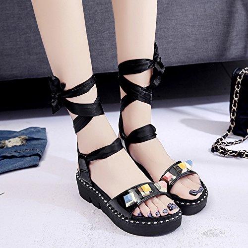 RUGAI-UE Piatto estivo sandali donne retrò benda gli studenti spesso scarpe a rivetto Black