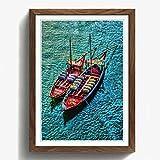 BIG Box Art Portugal Boote Druck mit Eichenholz Rahmen,