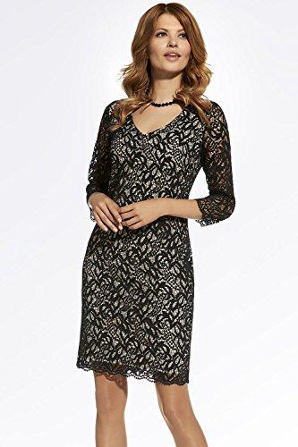 Ennywear 220064 Robe Mini Deux Couleurs Business Look Top Qualité Feminine Taille Moulante Manches 3/4- Fabriqué En UE Noir