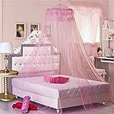 Zalago - Mosquitera redonda, toldo o dosel, para camas de 1m a 1,8m, poliéster, rosa, 60cmx260cm