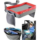 Play Tray (Rouge) - Plateau de voyage pour enfant – Pour manger et jouer dans un siège de voiture, une poussette ou un siège d'avion