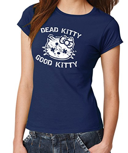 clothinx - Dead Kitty Good Kitty - Girls T-Shirt Navy, Größe XXL