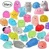 XuBa 30Piezas Mochi Squishy Juguetes Glitter Mini Animal squishies A Forma de Juguetes bomboneras para niños Juguetes