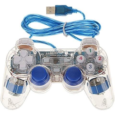 USB 2.0 Mando Regulador Controlador Gamepad para Ordenador Portátil PC Tableta Azul