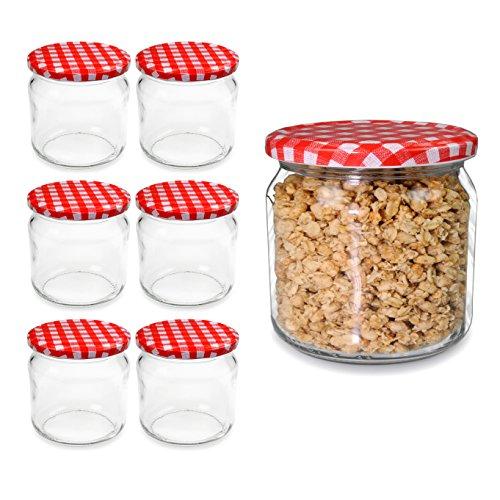 6 Stück Einmachgläser mit Schraubdeckel, kleine Sturzgläser 210ml, Marmeladengläser, Einmachglas in top Qualität - Marke Youzings