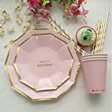 Sundlight Paper Tableware Sets Disposable Dishes Plates Straw for Party Wedding Festival Decoration Supplies Eight Color