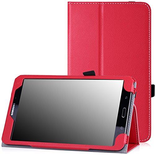 MoKo Samsung Galaxy Tab 4 8.0 Hülle - Kunstleder Ständer Tasche Schutzhülle Folio Schale Smart Cover mit Stift-Schleife und Standfunktion für Samsung Galaxy Tab 4 8 Zoll Tablet-PC,Rot