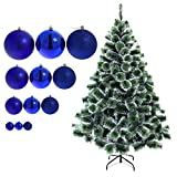 150 cm künstlicher Weihnachtsbaum mit Schnee-Effekt in grün mit 33 blauen Christbaumkugeln Tannenbaum Christbaum