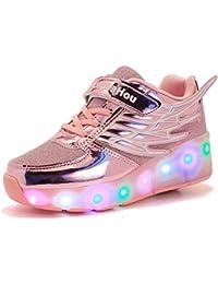 Mr.Ang Mit LED Skateboard Lichter blinken Schuhe Räder Schuhe Unisex Skateboard Schuhe Turnschuhe Skateboard Lnline Sneaker Einzelnes Rad Jungen Mädchen Kinder Wanderschuhe neutral Kuli Rollschuh