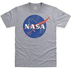 Official NASA Logo Camiseta, para Hombre, Gris Jaspeado, L
