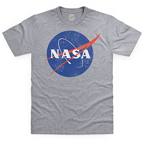Official NASA Logo Camiseta, para Hombre, Gris Jaspeado, XL