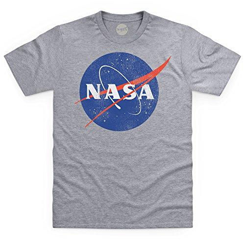 Official NASA Logo Camiseta, para Hombre, Gris Jaspeado, M