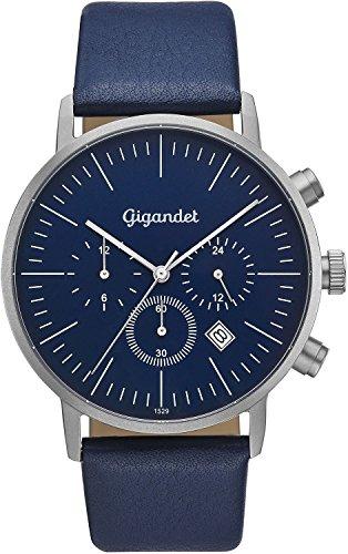 Reloj de hombre analógico con esfera azul y pulsera de piel en color azul,de Gigandet, muestra dos zonas horarias, plano y redondo diseño atemporal, azul y plata, correa de piel de becerro, G22-003