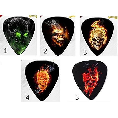 TecnoStore® PLETTRO TESCHIO basso chitarra elettrica acustica scheletro plettri skull pick (TIPO 4)