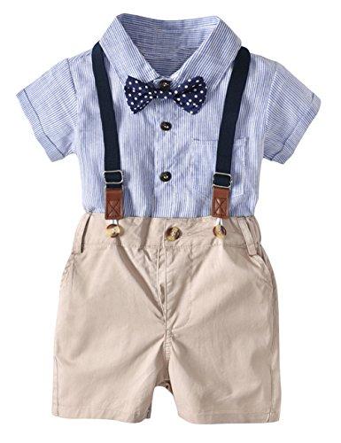 ody mit Fliege + Kurze Hose mit Träger Junge Bekleidungsset Kleinkinder Gentleman Anzug Baumwolle Set Babyanzug Blau ()