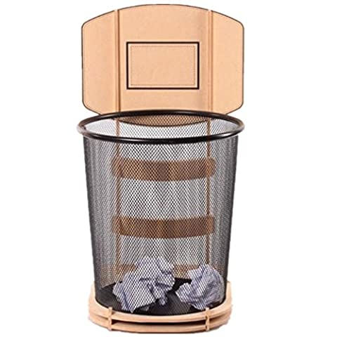 GAOCF Lager Fässer Mülleimer Gerüst Sanitation Mülleimer Fuß Auf Den Müll Medizinische Mülleimer Pedal Müll Trash Con Bürobedarf Einfache Kreative Basketball-Park Abfalleimer Material Holz Eisen Größe 24 * 43 * 59Cm