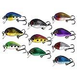 Leurres de pêche 10pcs Appâts poisson pêche 3D Bouchons Mouche Multi coloré