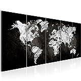 Bilder Weltkarte 200 x 80 cm Bild World Map Wandbild Vlies - Leinwand Bild XXL Format Wandbilder Wohnzimmer Wohnung Deko Kunstdrucke Schwarz Weiß 5 Teilig -100% MADE IN GERMANY - Fertig zum Aufhängen 002955a