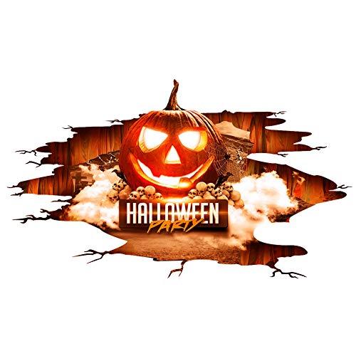 (Qinlee Halloween Wandaufkleber 3D Wandtattoo Kunstwerk Decals PVC Wandsticker Home Festival Halloween Dekoration (Kürbis))
