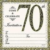 Jean Barrington Gold geprägt 70. Geburtstag 70Einladungen & Umschläge 10Stück