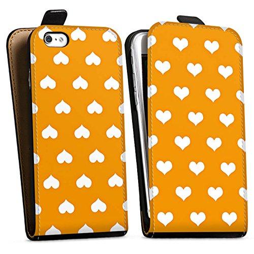 Apple iPhone X Silikon Hülle Case Schutzhülle Herzchen Muster Orange Downflip Tasche schwarz