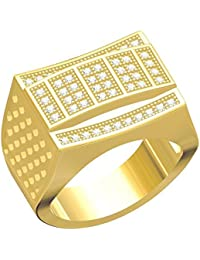 Spangel Fashion Designer 18 Ct. Gold Plated American Diamond Jewellery Ring For Men - B078CQDQYQ