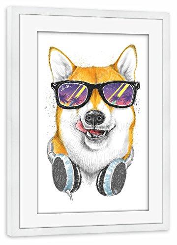 artboxONE Poster mit Rahmen Weiß 45x30 cm Siba Inu in Glasses von Nikita Korenkov - gerahmtes Poster