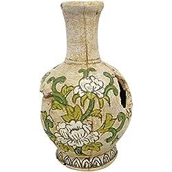 Wave jarra con flores, tamaño mediano, color blanco