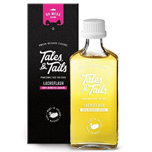Tales & Tails® - 100% Lachsöl für Hunde, Barf Öl, kaltgepresst, reines Naturprodukt, Fischöl, Ergänzungsfuttermittel -