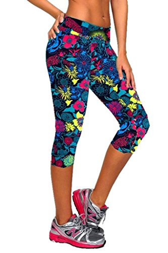 qutool Damen Tartan Active Workout Capri Leggings anliegendes Stretch-Strumpfhosen Running Leggings Sport Hose - Flower Blue - L (Capri Antwort Tight)