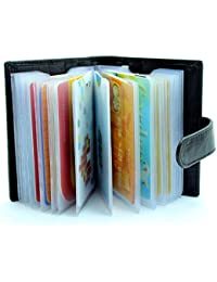 Genuine Soft Leather Credit Card Holder Wallet - 20 Clear Plastic Pockets - 4 Further Card Slots-Black/Coffee...