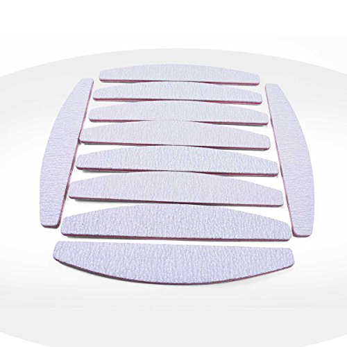 Konad Feilen, Zebra-Muster, halbmondförmig, 100/180–für Maniküre, künstliche Nägel und Nail Art, 10 Stück