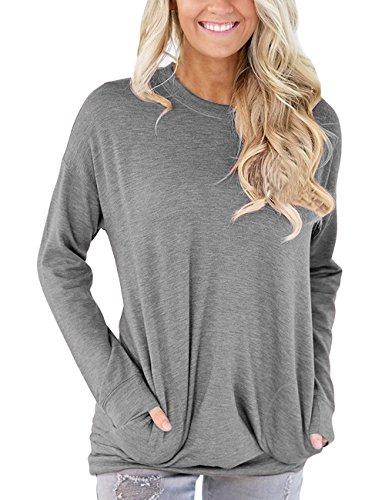 Junshan Femme T-shirt chauve-souris à manches longues Chemises à Manches Longues Femme Casual Longue Blouse Col O Hauts Lâche Shirt Gris clair