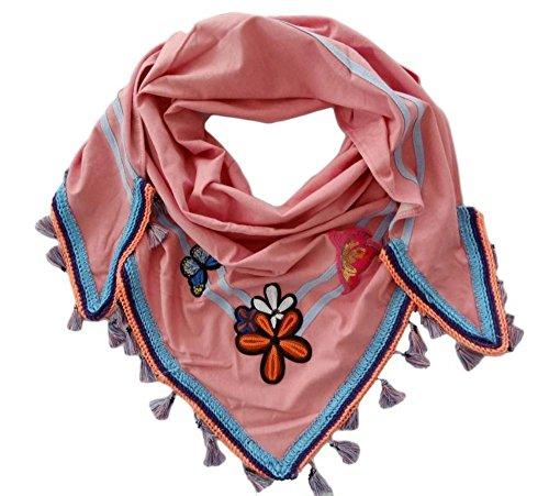 148 Damen Dreieckstuch Schal Sommer Frühling buntes Tuch mit Blumen Patches pastell Muster von Zwillingsherz Rosa