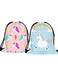 Yaosen Double-Sided Unicorn Drawstring Backpack 3D Print Shoulder Bag Gym Bag 2Pcs (Pink+Blue)